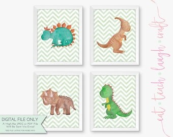 40% OFF SALE - Set of 4 Dinosaur Printables - Kids' Art - Children's Decor - Nursery Prints - Watercolor {Instant Digital Download - 8x10}
