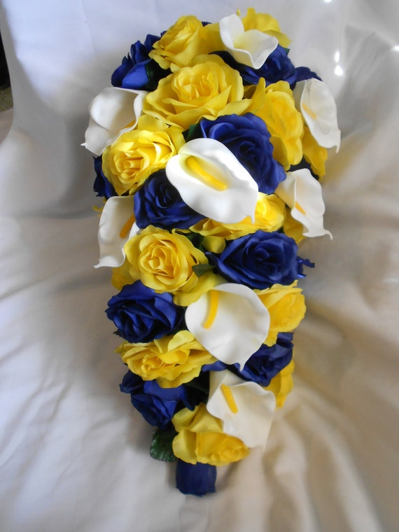 Yellow and royal blue cascading silk bridal bouquet 2 pieces