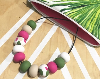 Polymer clay bead necklace. Polymer clay necklace. White, clay, spanish olive/greenery, pink! 'The Taya'
