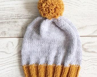 Knit hat, toddler hat, knit hat, pompom knit hat, pompom knit hat, beanie, slouchy beanie knit hat custom knitted hat