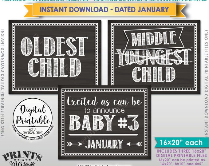 """3rd Baby Pregnancy Announcement, Oldest Middle Youngest, Baby #3 due JANUARY Dated Chalkboard Style PRINTABLE 8x10/16x20"""" Reveal Signs <ID>"""