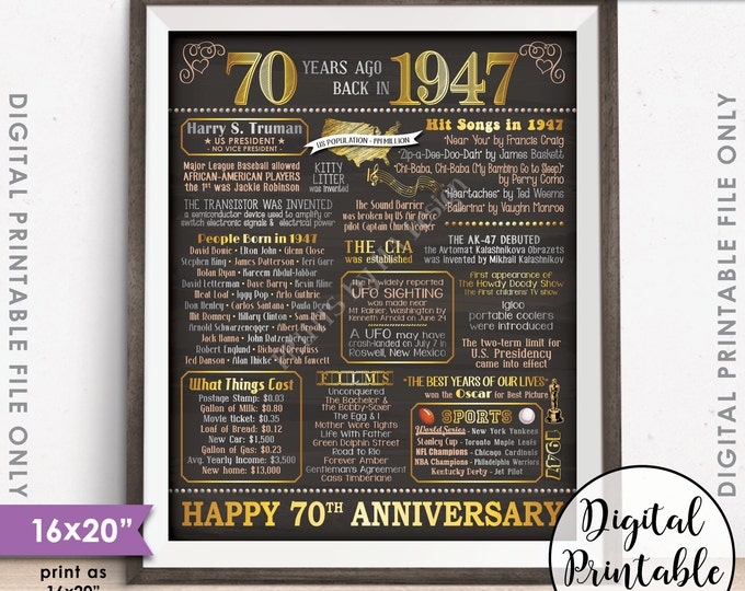 """70th Anniversary Gift 1947 Poster, 70 Years USA Flashback Instant Download 8x10/16x20"""" Married in 1947 70th Chalkboard Style Printable"""