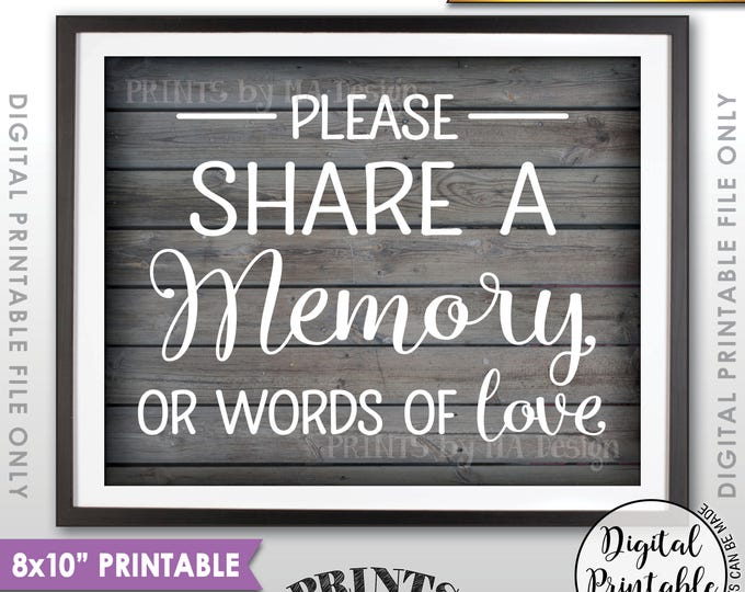 "Share a Memory Sign, Share Memories, Write a Memory, Graduation, Birthday, Anniversary, 8x10"" Rustic Wood Style Printable Instant Download"