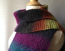 Halloween Scarf - Hand-knit - 100% Wool - Black, Orange, Yellow, Purple and Teal