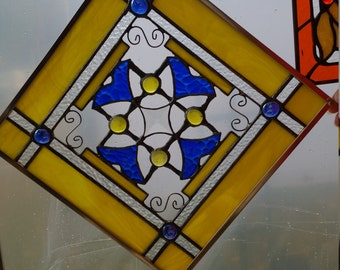 bright yellow and blue with star stained glass
