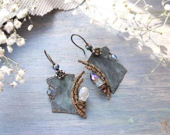 Earrings copper patina hammered earrings, Bohemian ancient earrings, brilliant beads Swarovski, boho earrings, Gypsy Earring, Tribal Jewelry