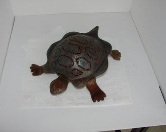 Metal Turtle Candle Holder Opens  Up To Put A Candle Inside Great Deck Decor & More