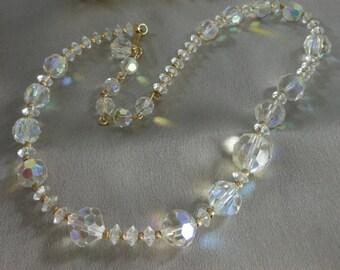 Vintage Crystal Necklace VENDOME Sparkling Aurora Borealis