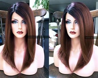Brown Lace Front Wig // Ombre Auburn + Heat OK // Yaki Straight Long Wig w/ Dark Root & Fake Part