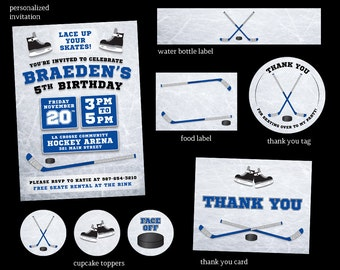 Hockey Birthday Party Package   |  Hockey Birthday Invitation | Blue