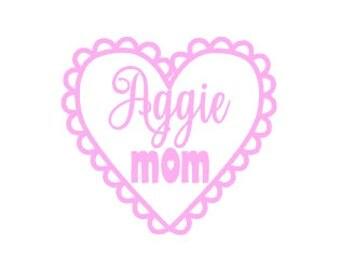 Aggie Mom Heart Decal