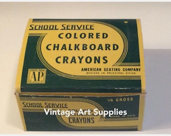 Vintage School Service Colored Chalk Crayons/American Seating Co./Colored Chalkboard Crayons/The Crayon Watercolor & Craft Institute, Inc.
