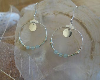 925 Silver Creole earrings, pearls of chalcedony blue stone and Silver 925