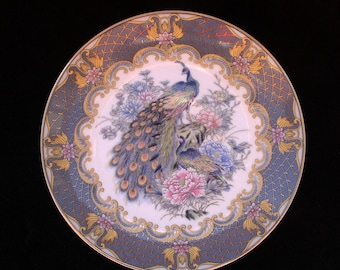 Vintage Oriental Blue Peacock and Floral Pattern  6.375 inch Decorative Plate (Two available)