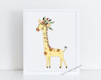 giraffe nursery art illustration, giraffe print, tribal giraffe decor, zoo nursery decor, jungle nursery wall art, tribal animal print