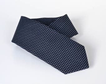 Midnight Navy Polka Dot Skinny Tie