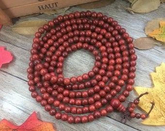 216pc 6MM Natural Red Rosewood Dalbergia cochinchinensis Buddha Japa Mala Prayer Beads necklace