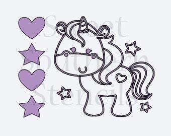 Cute Unicorn PYO Cookie Stencil