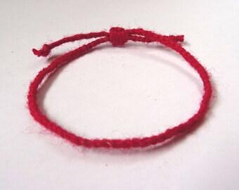 Red string 100 %wool bracelet. Protection bracelet. Kabbalah bracelet. Wish bracelet. Friendship bracelet. Good Luck bracelet.