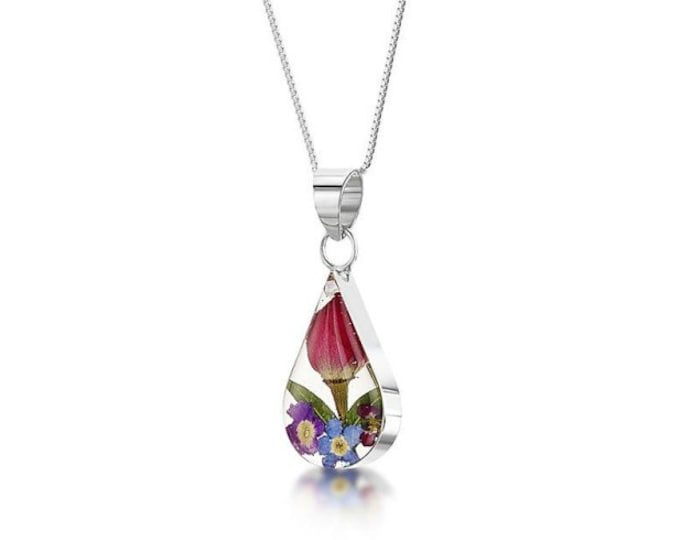 "Silver Teardrop Pendant - Mixed flowers -  18"" silver chain - Ideal Gift For Mom- Her-Valentine Birthday- Anniversary or Just For You"