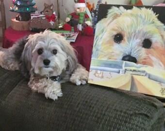 Pet portrait custom, hand painting fine art by Audrey Delaye, home office decor for dog lover, kitten animals, Christmas art gift order