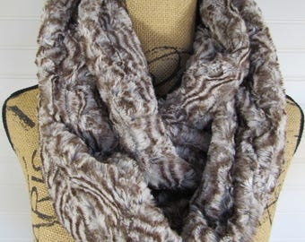 Faux Fur Scarf Gray with Brown Infinity Scarf - Faux Fur Infinity Scarf-Gift for Her