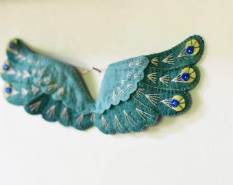 Green Bird Wings, Wings Wall Art, flying wings, felt wings