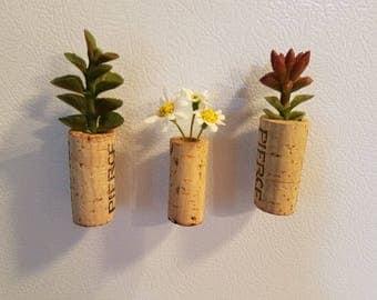 Wine Cork Magnets (Set of 3) Faux-Succulents-Plants-Wine Corks-Cork Art-Kitchen Decor-Wine Lover-Cork Decor-Cork Crafts-Cork Creations