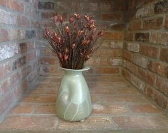 Ceramic Handmade Wheel-Thrown Rustic Matte Green Pottery Vase