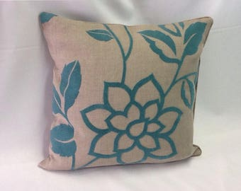 Gray Linen & Turquoise Floral Pillow Cover - 20 Inch - 12x16 Lumbar - Throw Pillow - Decorative Pillow - Ready to Ship