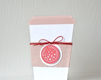 Christmas Coffee Cup Gift Card Holder: thank you present, birthday wrapping, handmade, embossed, happy holidays, merry - LRD007GH