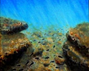 "Seabed-Fish-Fine-Sea urchins-30cmX30cm(12""X12"" approx.)-Art-Original Painting-Handmade by Silvia Dimova"