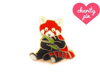 Red Panda Enamel Pin (red panda pin hard enamel pin lapel pin badge jewelry cute panda jewelry endangered pin cloisonne backpack pins)