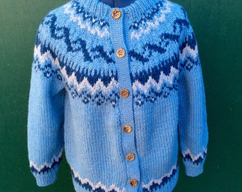 Hand knit/Nordic Ski Style/Wool/Cardigan/Sweater.