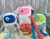 Hug Monster with Rabbit ears, handmade plush, baby shower, christmas  easter or birthday gift, ready to go.