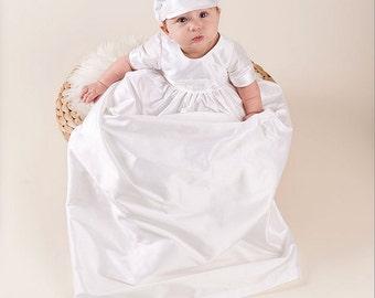 Jonathan White Silk Christening Gown, Boys Baptism Gown, Boys Christening Gown