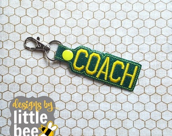 coach snap tab design - varsity coach font embroidery design - key fob, keychain, snap tab - machine embroidery design - 05 19 2017