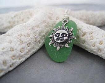 Sea Glass Pendant - Sun and Sea - Beach Glass - Green Sea Glass - Summer Style