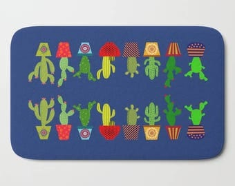 Cactus bath mat-Cacto bathroom decor-Cacti bath mat-Succulent bathroom-Cool kids bathroom-Plants bath mat-Colourful-Modern bathroom decor