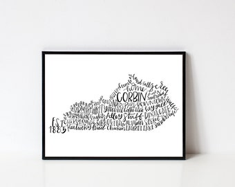 Hand lettered CORBIN Kentucky Word Art Print // 8x10
