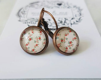 Red copper and vintage floral glass cabochon drop earrings