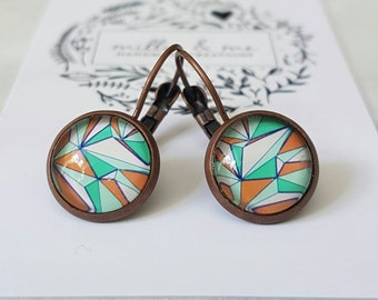 Red copper and orange and green retro glass cabochon drop earrings