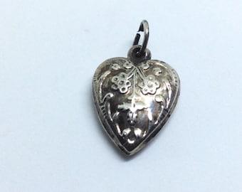 Vintage Sterling silver Puffy Heart Floral design Charm for bracelet
