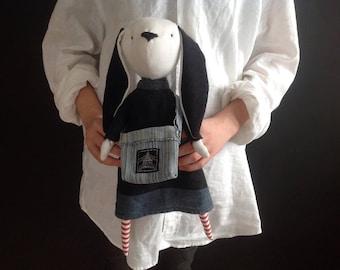 Rabbit /Soft bunny / Doll / Rabbit doll / Handmade doll / Rag doll / Soft plush / Primitive rag doll