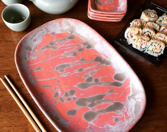 Sushi Plate Set, Housewarming or Wedding Gift, Appetizer Plates, Pottery Tapas Serving Platter, Coral Red Plates and Bowls, Gift for Her