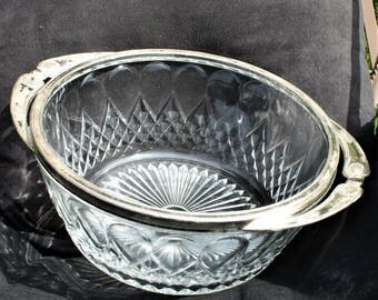 Glass Serving Bowl with Silver Plate Rim and Handles