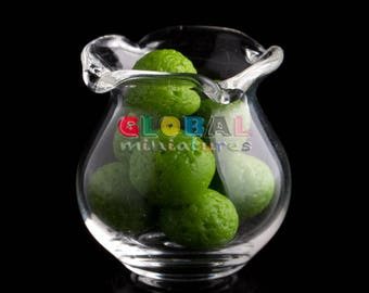 Dollhouse Miniatures Glassware Scallop Edge Round Glass Jar and Lime