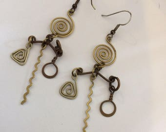 Vintage earrings. Spirralled brass chandelier dangle drop earrings. Hippie boho style Gift idea for her