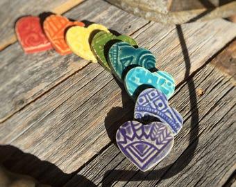 Set of 8 Small Ceramic Heart Tiles   Rainbow Color Ceramic Hearts   Mini Stoneware craft supply   Rainbow Ceramic Heart mosaic tiles