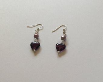 Purple Heart earrings, dangle earrings, Valentine's Day gift idea, bead earrings, pierced earrings